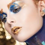 Gold blue makeup body painting by Wesley Hilton makeup close up dripping lips