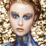 Gold blue makeup body painting by Wesley Hilton makeup