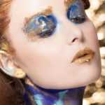 Gold blue makeup body painting by Wesley Hilton makeup editorial dripping lips