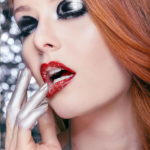 Silver black and red lips makeup editorial Wesley Hilton makeup