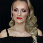 Hollywood glamour makeup - red lips and bronze gold eye makeup